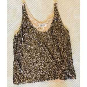 Sparkly sequined gold cami
